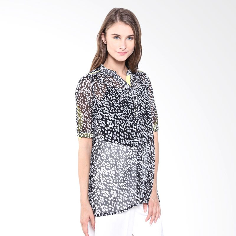 Beyounique Tiger Print Blouse With Contrast Black/White SP15 306 B