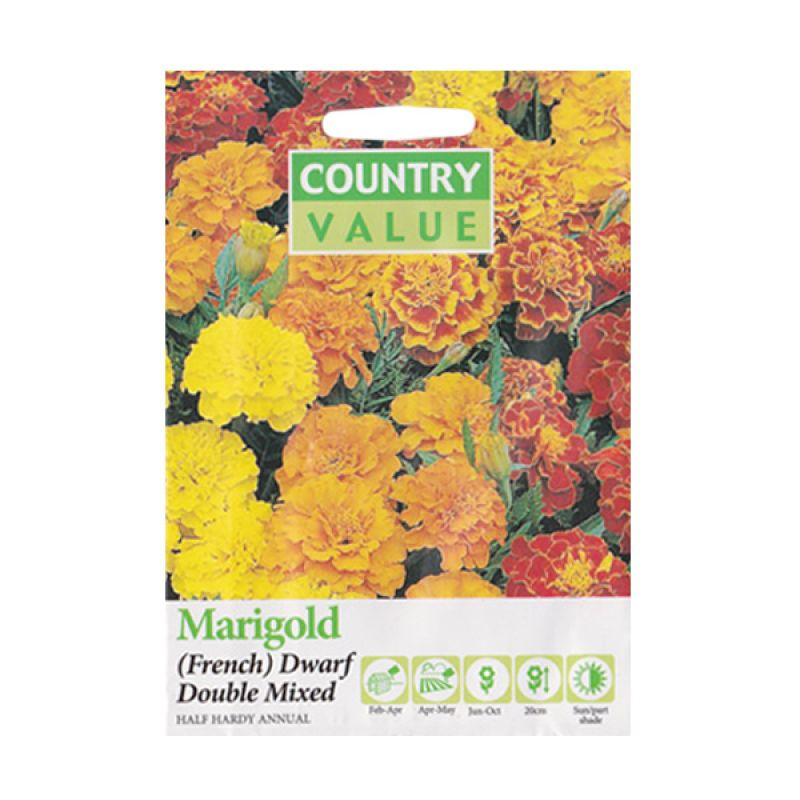 Country Value Marigold (French) Dwarf Double Mixed Bibit Bunga