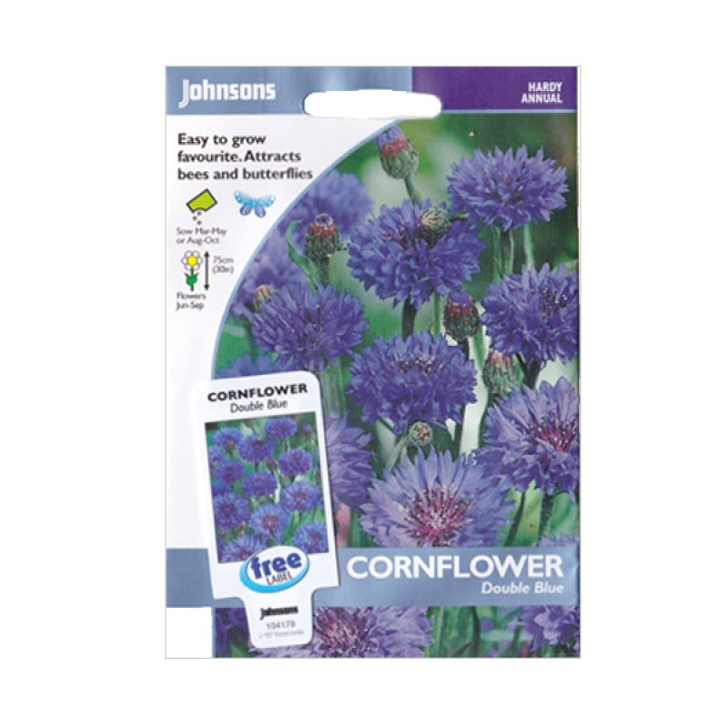 Johnsons Seed Cornflower Double Blue Bibit Bunga