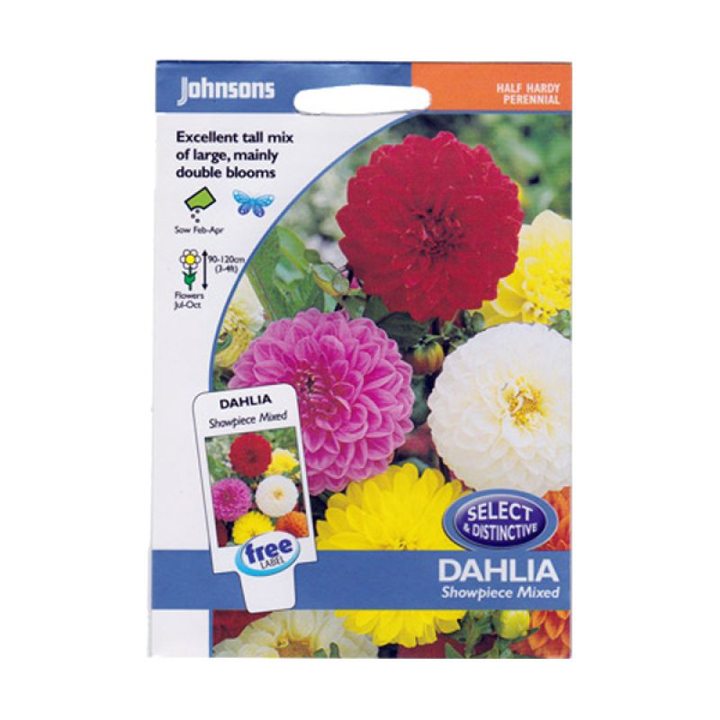 Johnsons Seed Dahlia Showpiece Mixed Bibit Tanaman