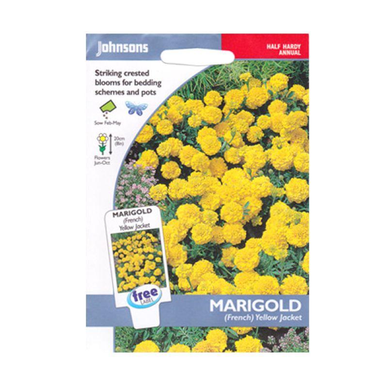 Johnsons Seed Marigold French Yellow Bibit Bunga