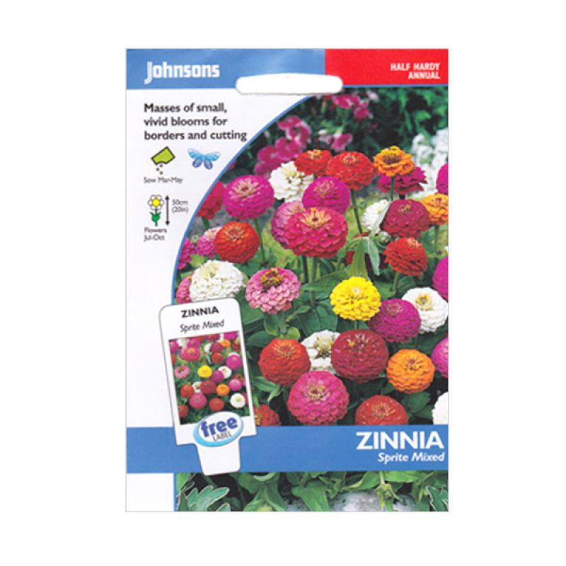 Johnsons Seed Zinnia Sprite Mixed Bibit Bunga