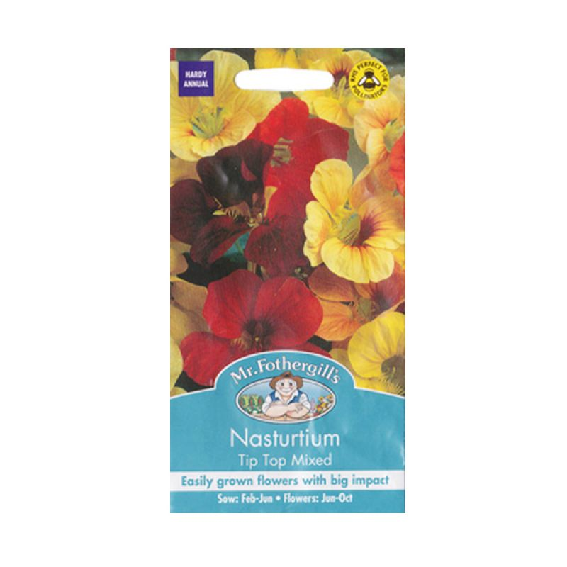 Mr Fothergill's Nasturtium Tip Top Mixed Bibit Tanaman