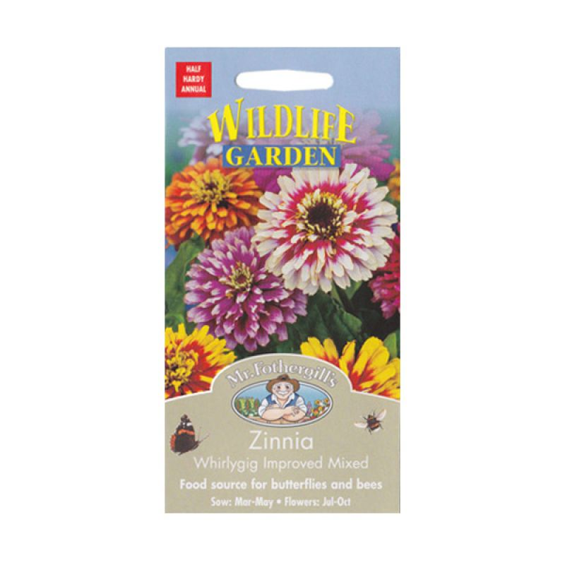 Mr Fothergill's Zinnia Whirlygig Improved Mixed Bibit Tanaman