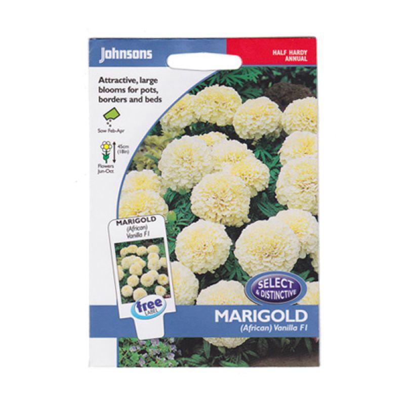Johnsons Seed Marigold African Vanilla F1 Putih Bibit Bunga