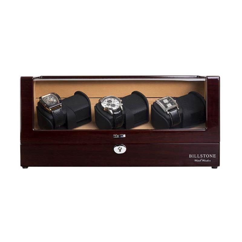 Billstone Avanti Watch Winder Walnut Kotak Penyimpanan Jam Tangan [3 Jam Tangan]