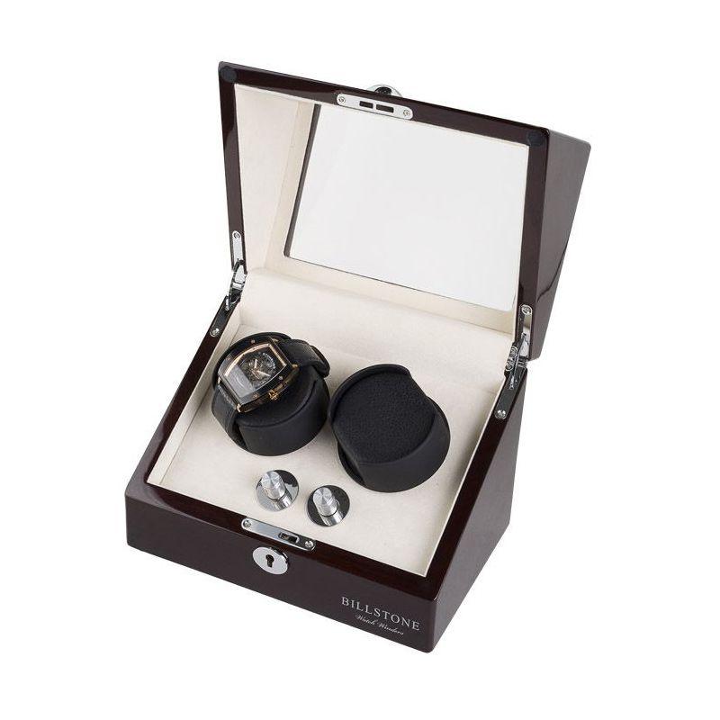 Billstone Collector Watch Winder Mahogany Kotak Penyimpanan Jam Tangan [ 2 Jam Tangan]