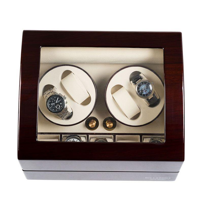 Billstone Morgentau Plus 2 Watch Winder Mahogany Kotak Penyimpanan Jam Tangan