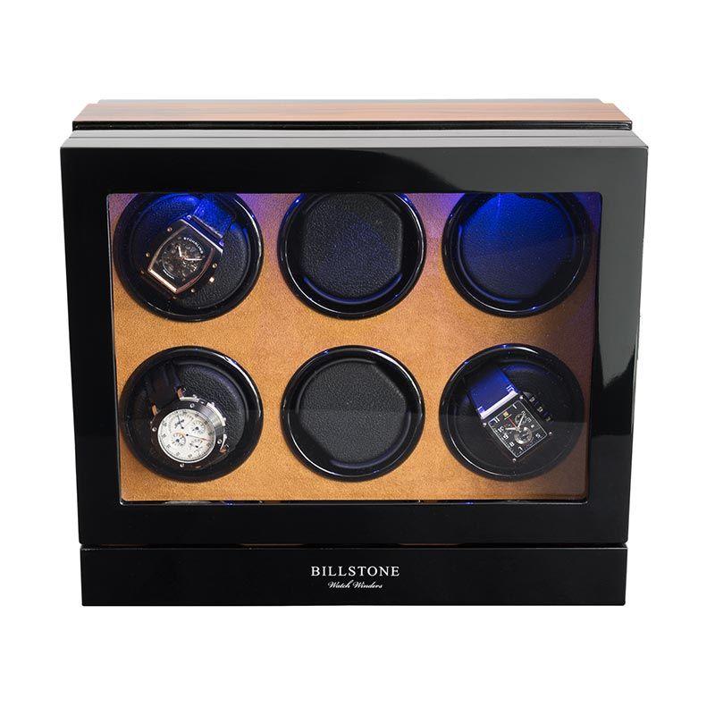 Billstone Paragon 6 Watch Winder Zebrawood Kotak Penyimpanan Jam Tangan