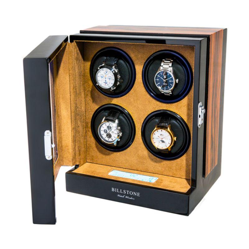 Billstone Paragon Watch Winder Zebrawood Kotak Penyimpanan Jam Tangan [4 Jam Tangan]