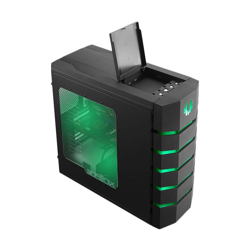 Bitfenix Colossus Window Black Green Casing Komputer