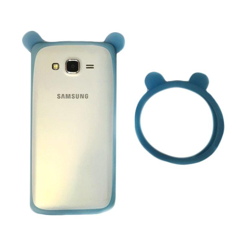 G-Smart Universal Rubber Mickey Ear Blue Ring Bumper Casing for Smartphone [Beli 1 Gratis 1]