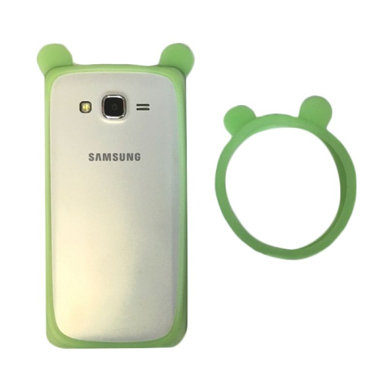 G-Smart Universal Rubber Mickey Ear Green Ring Bumper Casing for Smartphone [Beli 1 Gratis 1]