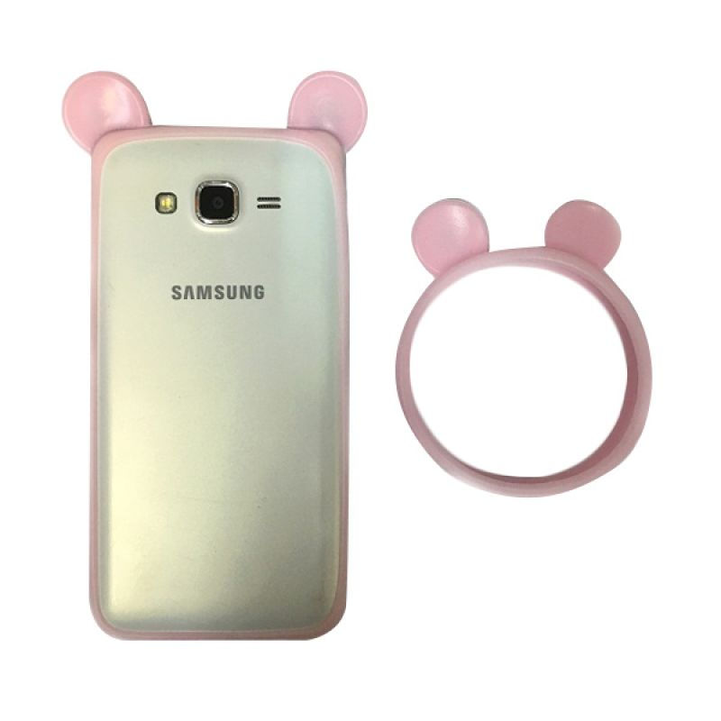 G-Smart Universal Rubber Mickey Ear Pink Muda Ring Bumper Casing for Smartphone [Beli 1 Gratis 1]