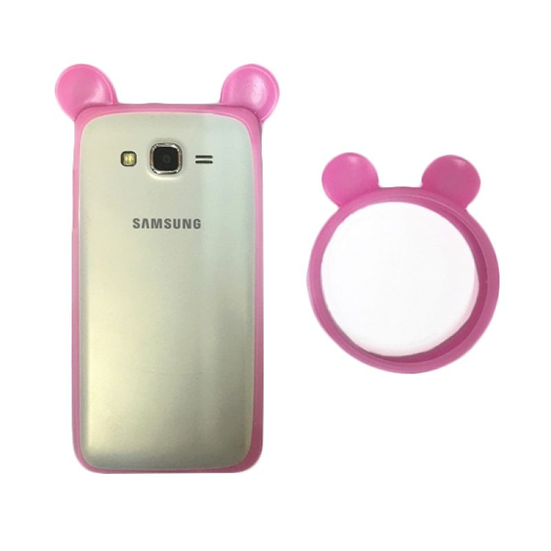 G-Smart Universal Rubber Mickey Ear Pink Tua Ring Bumper Casing for Smartphone [Beli 1 Gratis 1]