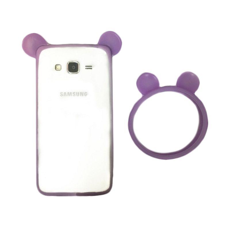 G-Smart Universal Rubber Mickey Ear Purple Ring Bumper Casing for Smartphone [Beli 1 Gratis 1]