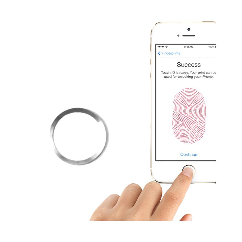 Apple Touch ID White List Silver Home Button Sticker