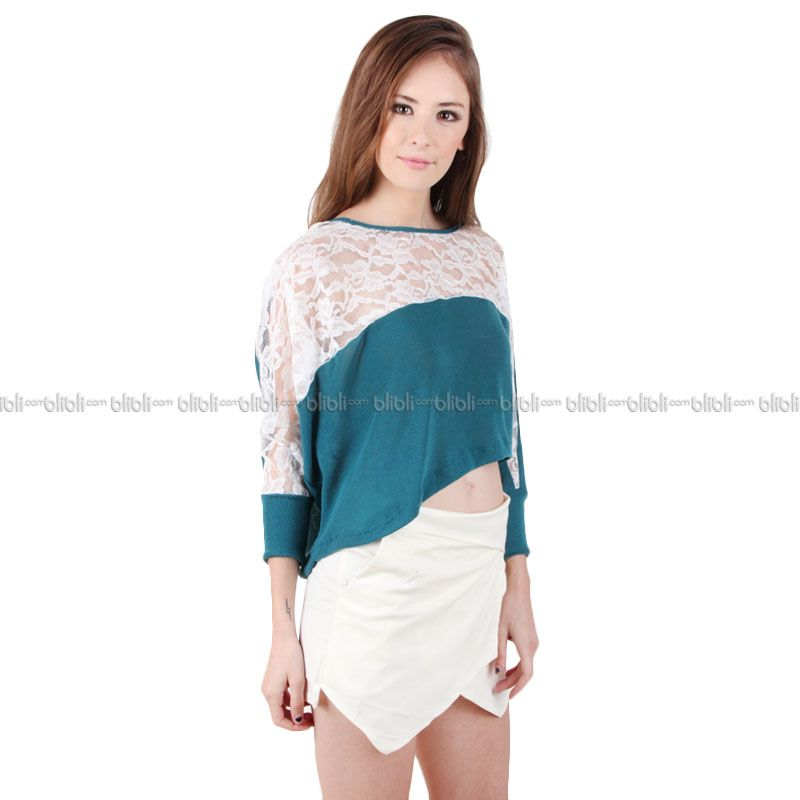 Blaize Asymmetric Lace Crop Top - Tosca