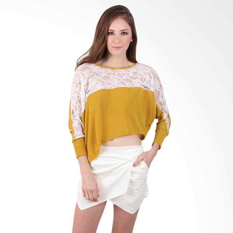 Blaize Asymmetric Lace Crop Top - Yellow