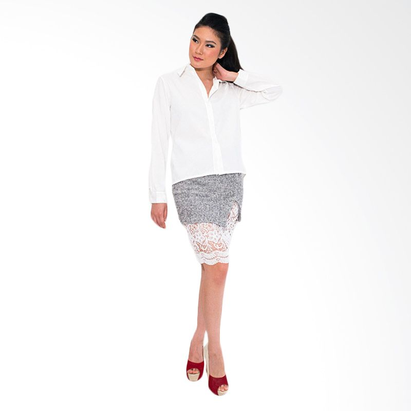 Blaize High Low Crossback Shirt White Atasan Wanita