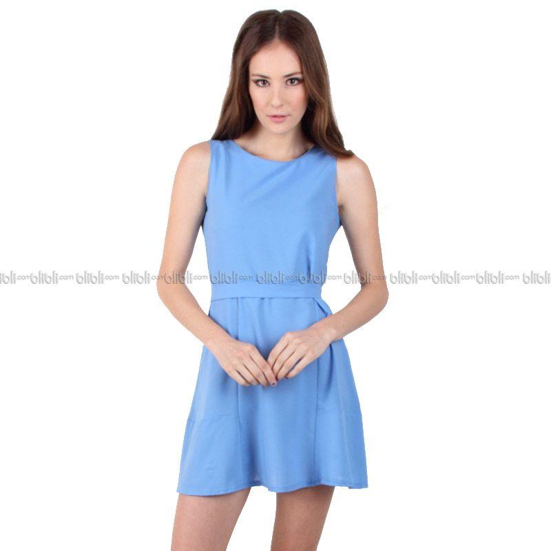 Blaize Sleeveless Belted Dress - Blue
