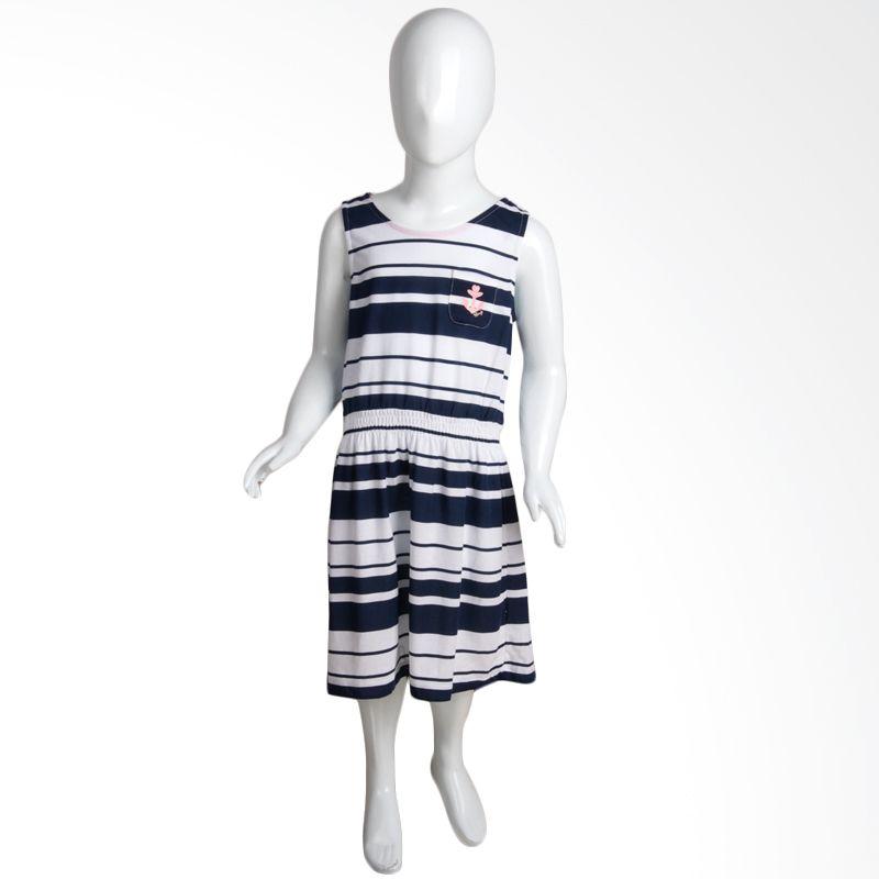 Cindy Kids Stripes Sailor Blue White Dress Anak