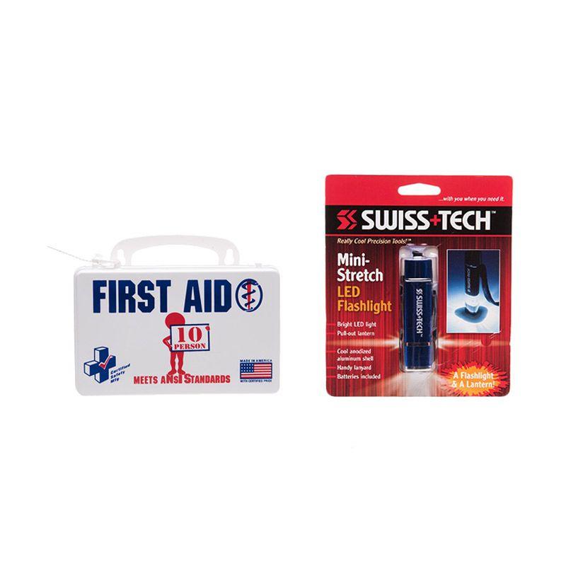PROMO ANSI First AID Poly White Kotak P3K [Buy 1 Get 1 FREE Blue Mini Strech LED]