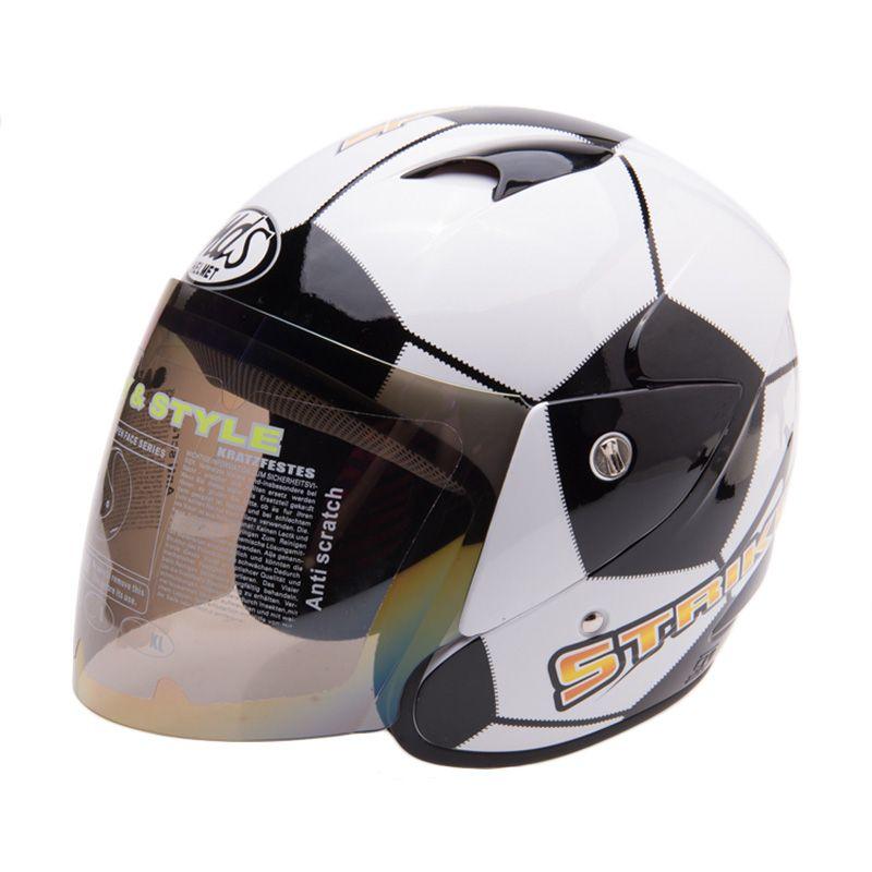 MDS Sport R3 Striker Football White Yellow Helm Half Face