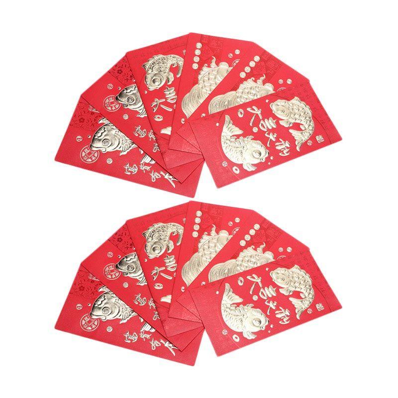 CNY Fish Big Red Envelope [12 Pcs]