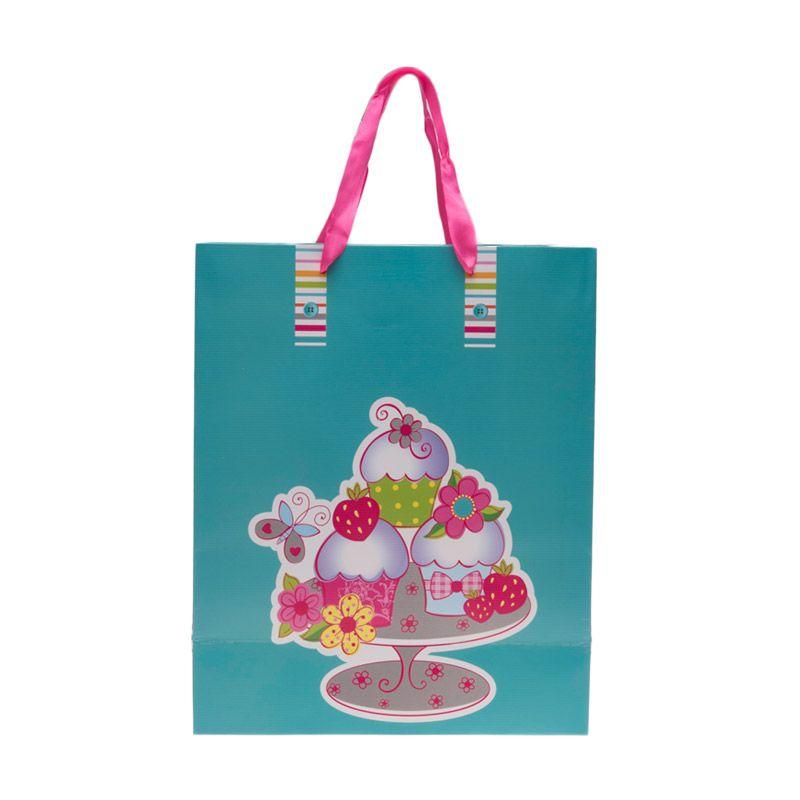 Jacq 3D Cupcake HX-S-9873L Green Paper Bag