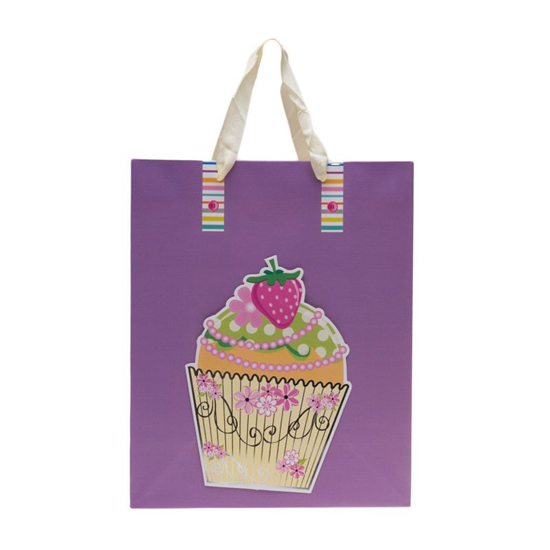 Jacq 3D Cupcake HX-S-9876L Purple Paper Bag