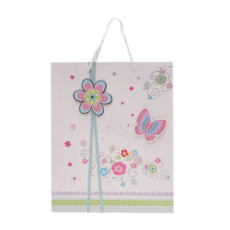 Jacq 3D Flower and Butterfly HX-H-8572L White Paper Bag