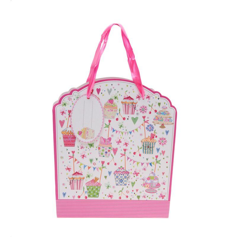 Jacq Cupcakes HX-S-9897M White Fushia Paper Bag
