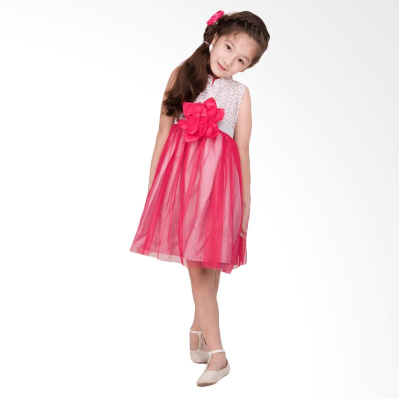 Unico Cheongsam Bunga Abu-Abu Dress Anak