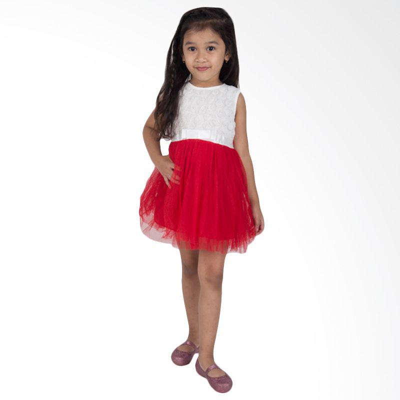 Unico Flower Tutu Putih Merah Dress Anak