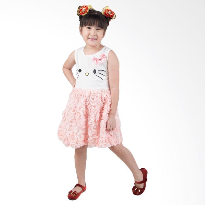 Unico Hello Kitty Rok Bunga Peach Dress Anak