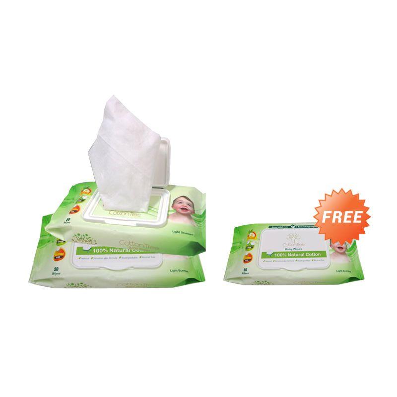 Buy 2 Get 1 Free - Cotton Tree Wipes Light Scented Tisu Basah [50s]