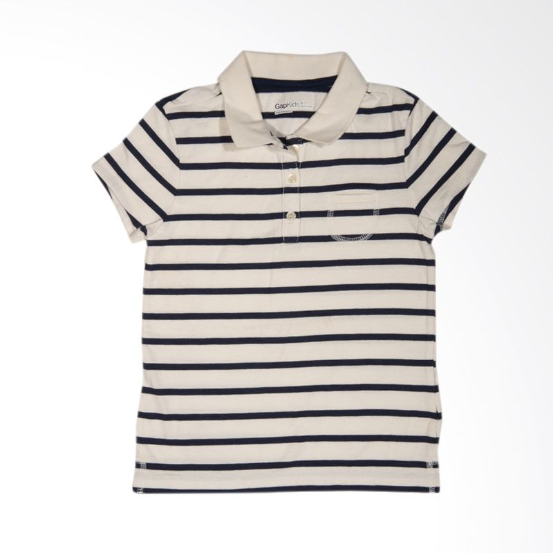 GAP Stripes Polo Blue Atasan Anak Laki-Laki