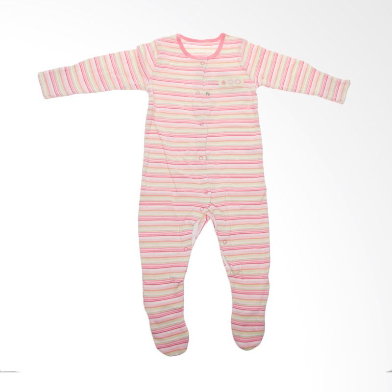 Jumper Flower Stripes BO 267 Pink Jumpsuit Bayi