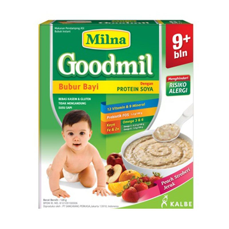 Milna Goodmil Peach Strawberry Jeruk Bubur Bayi [120 g]