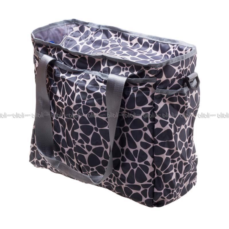 Montague Foldable Diaper Bag Grey Flowers