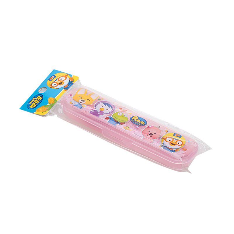 Pororo & Friends Cutlery Keeper Set Pink Alat Makan Bayi