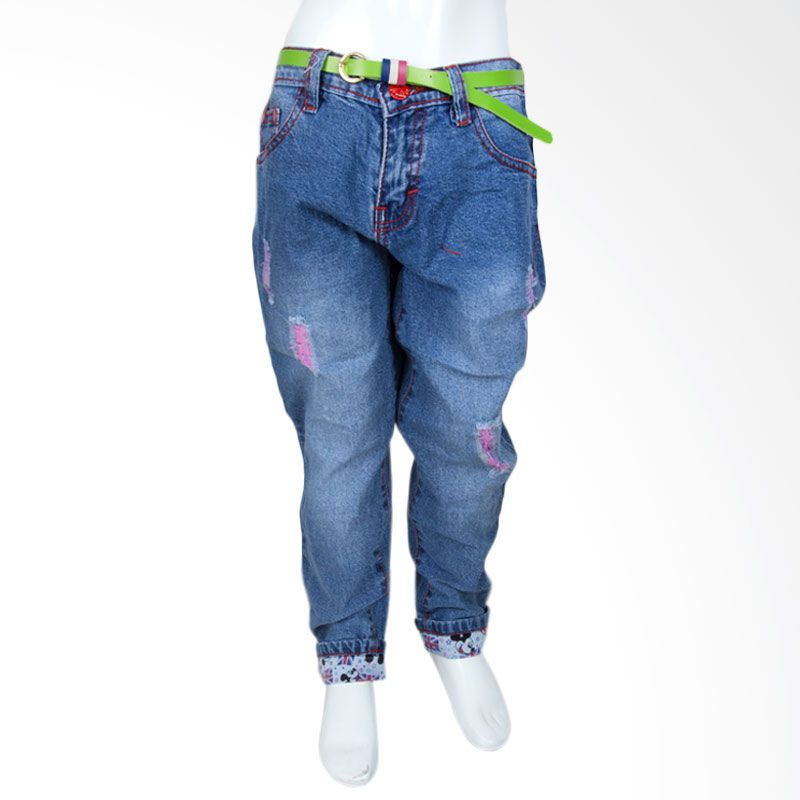 Unico Girl Ripped with Mickey Mouse Cuff 186 Dark Blue Jeans