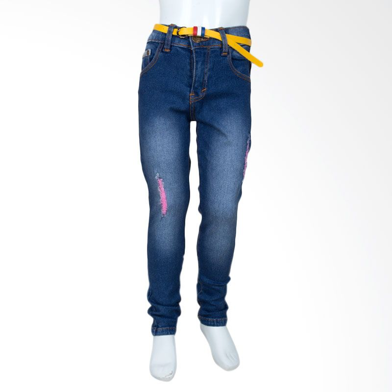 Unico Girl Ripped with Pink Thread 486 Dark Blue Jeans Anak