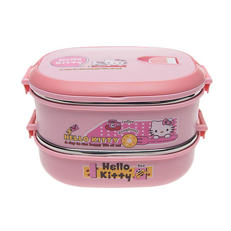 Unico Hello Kitty C-50104 Oval Pencil Pink Rantang Tempat Makan [2 Susun]