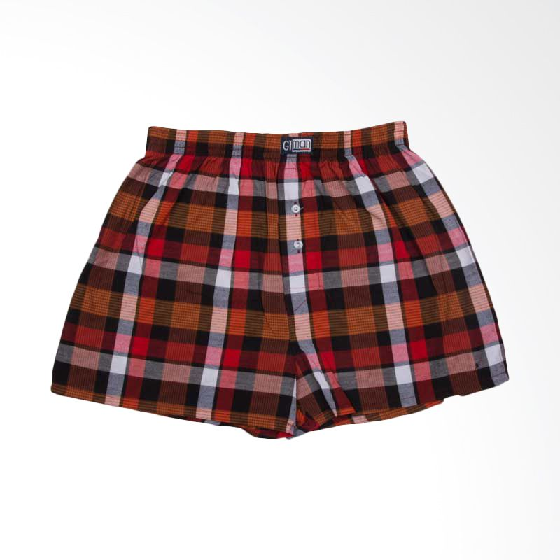GT Man Boxer Small Check Red