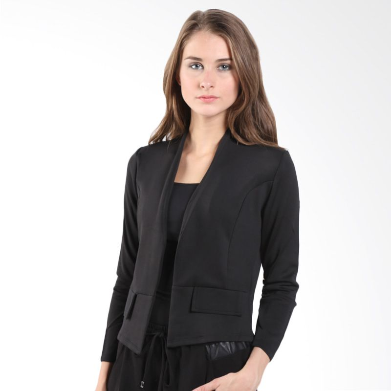 Noonaku Signature Crop Puff Black Blazer