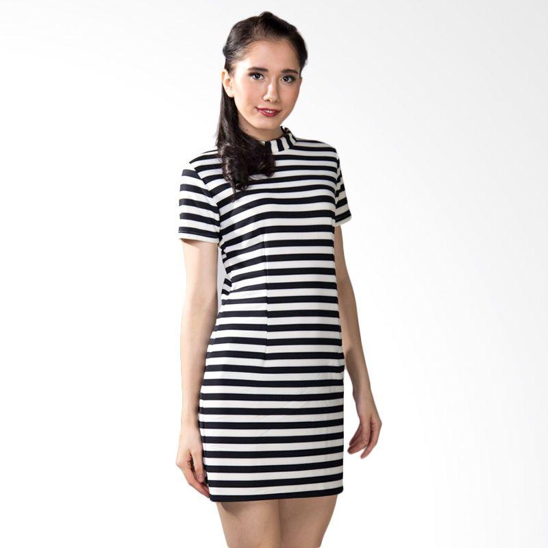 Papercut Stripe Black White Mini Dress