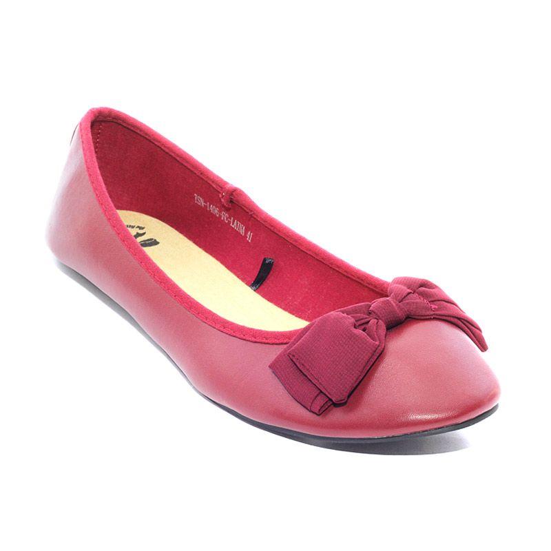 The Little Thing She Needs 1406 FC Laina 4L Maroon Sepatu Flat
