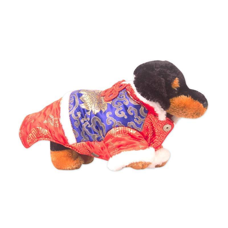 CNY Pink Peony Doggie Cheongsam Red Blue - S